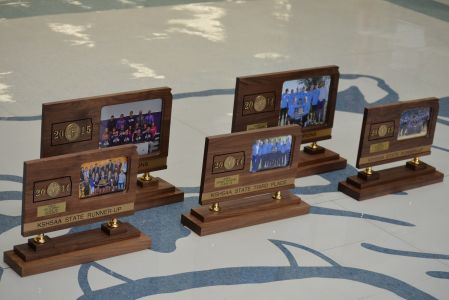 The five state trophies brought home by the Bulldogs so far in 2014-15.