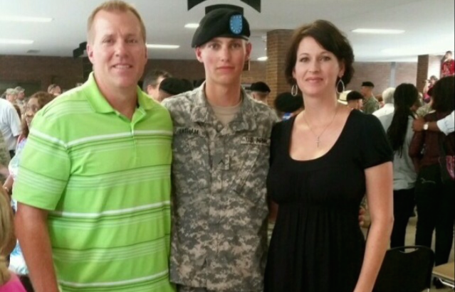 Senior Cody Latham (center) with parents Tim (left) and April (right). Cody Latham recently finished Basic Training for the Army.