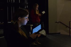 Senior Genesis Barwick and Junior Riese Wismer read over their lines at the first rehearsal of Black Coffee.