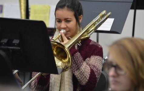 Senior Megann Lawrenz practicing trombone