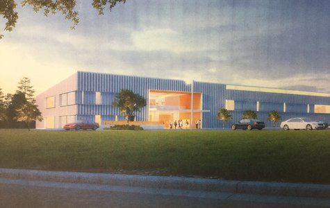 The proposal for the REC center is in place, suited with many amenities for all ages. This is an artist's envisionment of it.