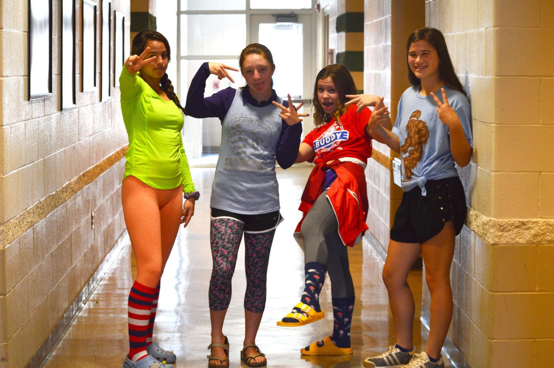 freshmen Zoey LaTessa, sophomore Brooklyn Chase, freshmen Madison Burrows and freshmen Chralize Barth are dressed up for fashion disaster