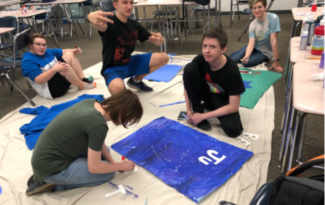 GSA members work on banners for Anti-Bullying week.