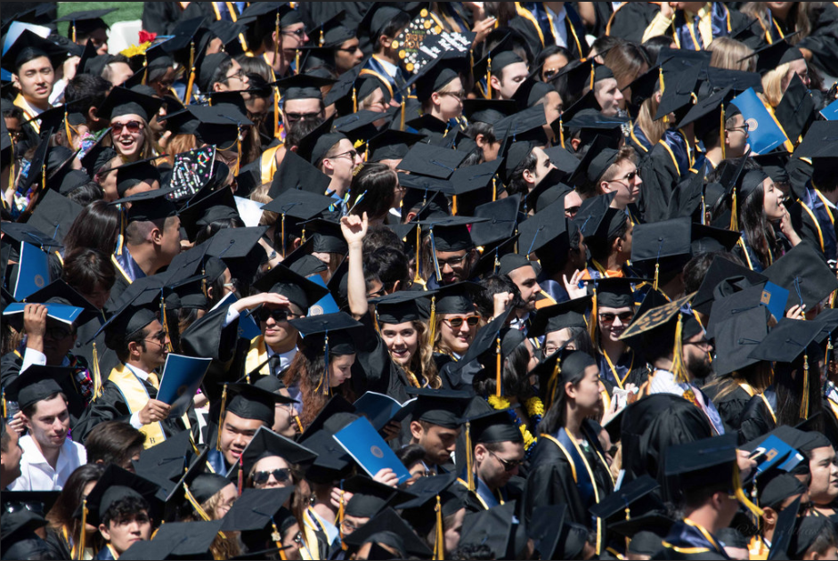 Students celebrating after graduating college