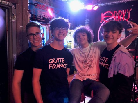 Friends supporting Xander Servis at a Friday night gig. The gig was last Friday, March 1. From left to right, Charles Reynolds, Michael Garber, Xander Servis, Ryan Hercules.