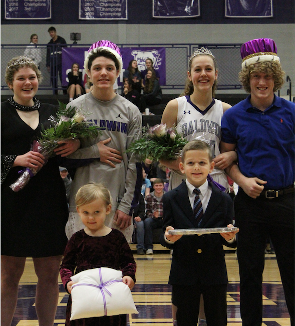The winners of the Royal Court are crowned. From left to right, Princess Dani Bennett, Prince Hunter Peacock, Queen Kate Ogle, King Cy Hockey.
